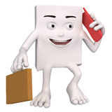 Character with briefcase and mobile phone Stock Photos