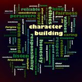 Character Building word cloud. Ethics, values, character - A word cloud or tag cloud - group of key words which revolve around the theme Character Building Royalty Free Stock Photography
