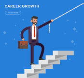 Character busimen. Business. Vector detailed character businessman walking on stairs. Career growth job change. business headhunting concept web illustration stock illustration
