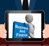 Character With Business And Finance Book Displays Businesses Fin Royalty Free Stock Photography