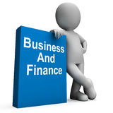 Character With Business And Finance Book. Showing Businesses Finances Royalty Free Stock Photos