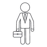Character business man with suit portfolio outline Stock Images