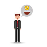 Character businessman with cup cofffee money Royalty Free Stock Photos