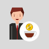 Character businessman with cup cofffee money Stock Photo