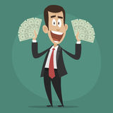 Character businessman happy holds dollar bills Royalty Free Stock Photo