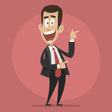 Character businessman happy points towards Royalty Free Stock Photography