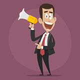 Character businessman happy speaks in megaphone Royalty Free Stock Photos
