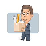 Character businessman holding box with things Royalty Free Stock Photography