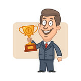 Character businessman holding cup and smiling Royalty Free Stock Images