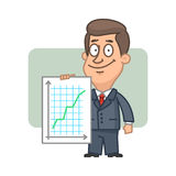 Character businessman holding graph success Royalty Free Stock Photo
