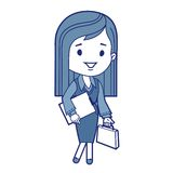 Character businesswoman with briefcase Stock Image