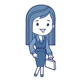 Character businesswoman with briefcase Stock Photos