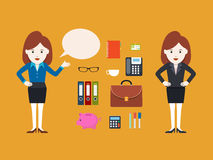 Character Businesswoman, Vector illustration Stock Images