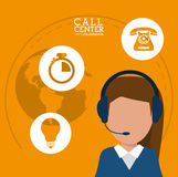 Character call center headset support worldwide Royalty Free Stock Photography