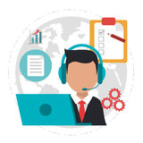 Character call center logistics service Royalty Free Stock Images