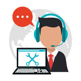 Character call center professional work Royalty Free Stock Photography