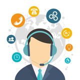 Character call center world service Royalty Free Stock Photography