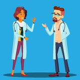 Character Cardiologist Doctor Man And Woman Vector. Male And Female Cardiologist Employees In Hospital Uniform Laughing Smiling Discussing Speaking. Medical royalty free illustration