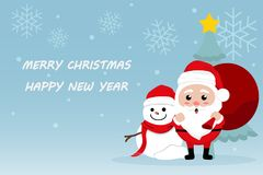 Character Cartoon Cute Christmas Day , Merry christmas happy new year festival , santa claus with gift box in bag and snow man. Christmas tree snowflake and Royalty Free Stock Photography