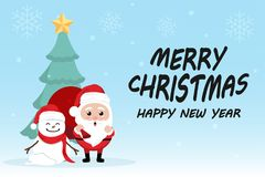 Character Cartoon Cute Christmas Day , Merry christmas happy new year festival , santa claus with gift box in bag and snow man. Christmas tree snowflake and Stock Images