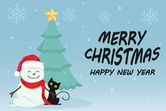 Character Cartoon Cute Christmas Day , Merry christmas happy new year festival , black cat and snow man , christmas tree. Snowflake and text , invitation card Stock Image