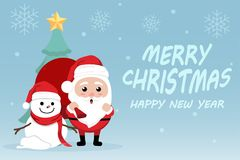 Character Cartoon Cute Christmas Day , Merry christmas happy new year festival , santa claus with gift box in bag and snow man. Christmas tree snowflake and Royalty Free Stock Photo
