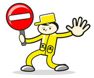 Character cartoon man stop sign Stock Photography