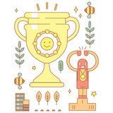 Character in cartoon style with smiley golden cup for winners. Stock Photos