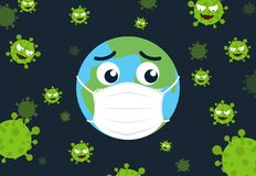 Free Character Cartoon World Wearing Protective Mask To Protect Virus Infect Protection Around The World Stock Images - 176359844