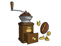 Character - the coffee bean 3. Brown wooden coffee grinder. Character - the coffee bean is looking at a lot of grain loaded into the grinder Royalty Free Stock Photos