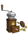 Character - the coffee bean 2. Brown wooden coffee grinder. Character - the coffee bean is looking into the open tray. Vector Stock Image