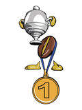 Character - the coffee bean 6. Character - the coffee bean. With the gold medal on a blue ribbon, prize, cup,  Vector Royalty Free Stock Photos