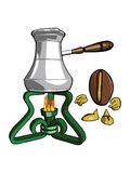 Character - the coffee bean. Observes as coffee beverage brewed in the fire.Vector Royalty Free Stock Image