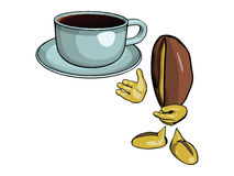 Character - the coffee bean 9. Character - the coffee bean. Offers drink coffee in a blue cup and saucer. Vektor Royalty Free Stock Photography