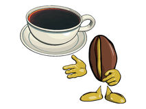 Character - the coffee bean 10. Character - the coffee bean. Offers drink coffee in a white cup  and saucer. Vektor Stock Photos