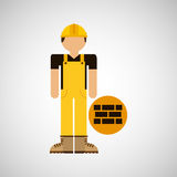 Character construction man with bricks Stock Photo