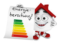 Character consulting on energy efficiency Stock Image