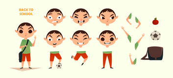 Character creation set. Different emotions and gestures. Cartoon flat-style illustration. Build your own design. Character creation set. Different emotions and Stock Illustration