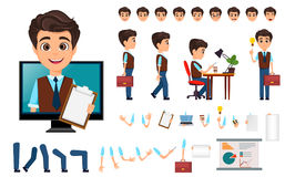 Character creation set. Young business man with various emotions. In different poses. Cartoon businessman. Vector illustration Royalty Free Stock Photo