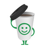Character cup of coffee. Character cup of coffee on a white background. A glass of coffee with an open black cap and face with a smile Royalty Free Stock Photos
