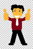 Character - Curly Hair Man Give Two Thumb Up, at transparent effect background. Vector Character - Curly Hair Man Give Two Thumb Up, at transparent effect Stock Photography