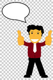 Character - Curly Hair Man Give Two Thumb Up, at transparent effect background. Vector Character - Curly Hair Man Give Two Thumb Up, at transparent effect Royalty Free Stock Photo