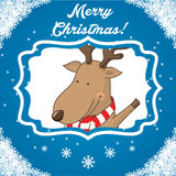 Character deer on the winter landscape. vector Royalty Free Stock Photography
