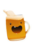 Character delicious mug of fresh cold beer Stock Images