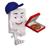 Character delivering pizza Royalty Free Stock Image