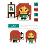 Character design Artist career, icon vector with white background Stock Image