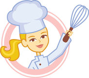 Bakery Culinary Girl Chef Cartoon in Logo Style. Character design with a blonde cartoon girl baker, wearing chef apron and chef hat, holding a balloon Whisk with vector illustration