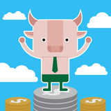 Character design and business concept. Illustration of bull stan Royalty Free Stock Images