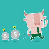 Character design and business concept. Illustration of bull symb Royalty Free Stock Photography