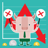 Character design and business concept. Illustration of bull symb. Ol of stock market trend. (a series of bull vs bear Royalty Free Stock Images